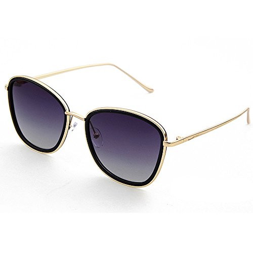 Yiph-Sunglass Sonnenbrillen Mode Runde Form umrandete Art Dame polarisierte Sonnenbrille voller Rahmen UV-Schutz, der Reisende Sonnenbrille für alle Gesicht fährt (Farbe : Grau)