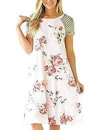 Yanhoo Frauen Blumendruck Kurzarm A-Linie Lose Kleid Kleid Casual Dress  Strand Häkeln Vintage Floral Bodycon Sleeveless Beiläufiges Abend… dd83300f4f