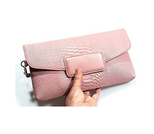 Nuova Busta Modello In Pelle Signore Mano Borsa Di Coccodrillo Signore Frizione Pink