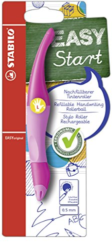 Ergonomischer Tintenroller für Linkshänder - STABILO EASYoriginal in hellpink/dunkelpink - Schreibfarbe blau (löschbar) - inklusive Patrone