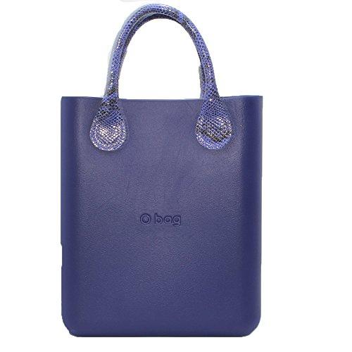 Borsa o bag o chic iris con manico corto pitonato viola e sacca new collection (k)