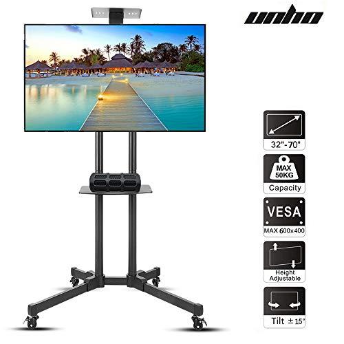 unho TV Ständer Universal Mobile TV Wagen Trolley Standfuß Fernsehtisch mit Halterung 2 Ablagen für LCD LED OLED Plasma TV 32