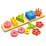 hibote Geometric Sorting and Stacking Board, Wooden Educational Jigsaw Puzzle Toys for Kids Toddler 3 Year Old and Up