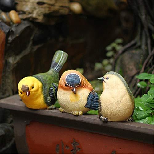Xiao 3 Piezas Conjunto de pájaro de la Resina Estatua Crafts Adornos...