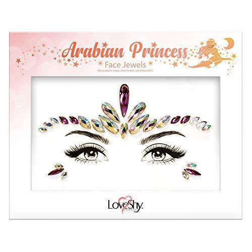 Loveshy Gesicht Edelsteine Strass Sticker Gesicht Kristall Jewels Temporäre Selbstklebend Glitzer Strass Aufkleber für Gesicht & Körper - Arabische Prinzessin