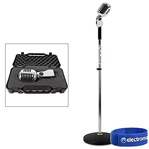 Retro 50s Style Classic Chrome Dynamic Microphone + Round Base Mic Stand Elvi...