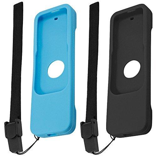 Carcasas de Protección para Apple TV 4ª Generación Siri Controles Remotos, FineGood 2 Pack Cubierta Fundas de Silicona Antideslizante para TV 4 Remote - Negro, Azul