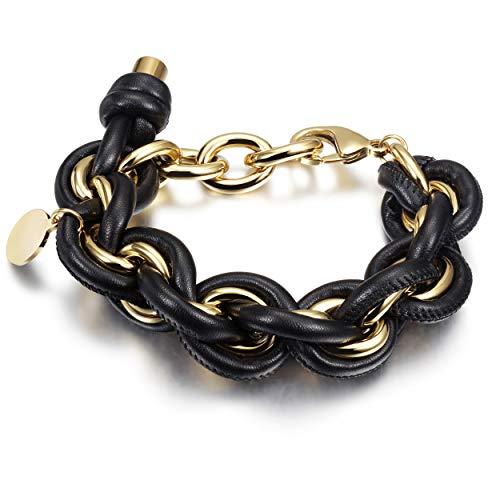 WISTIC Damen Armband Armreif mit Funkeln Kristall Armband Verstellbar und Edelstahl Gold Rosegold Silber Ideal Geburtstag Geschenk für Frauen Mädchen (Black 1)