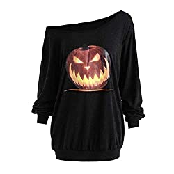 OverDose Damen Herbst Mode Frauen Plus Size Langarm Halloween Wütend Kürbis Skew Neck Tee Clubbing Party Bar Verrückte Bluse Tops