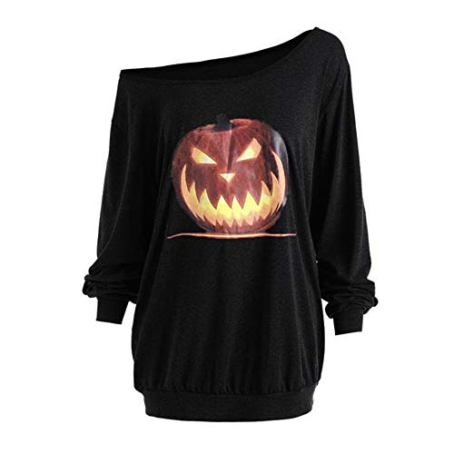 OverDose Damen Herbst Mode Frauen Plus Size Langarm Halloween Wütend Kürbis Skew Neck Tee Clubbing Party Bar Verrückte Bluse Tops (Günstige Assassins Creed 3 Kostüm)