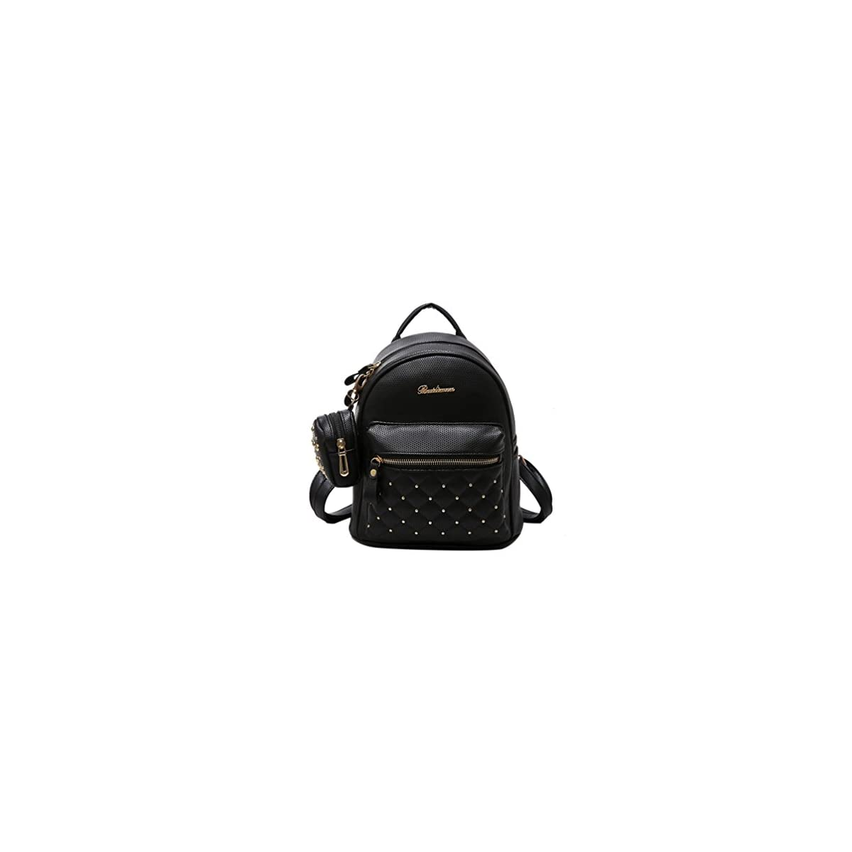 41B2auGoe9L. SS1200  - Mochilas Pequeñas Mujer de Cuero Negro Mochila Casual Mujer Moda 2 en 1 para Ocio Viaje
