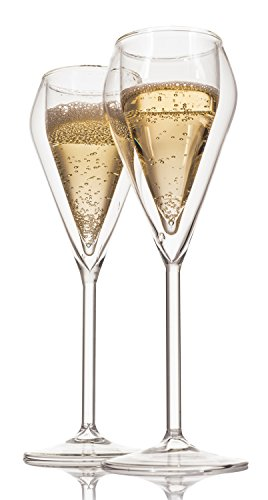LIVIVO ® Set of 2 Double Wall Champagne Glasses - Stylish and Elegant Floating Drink Effect Insulated Stem Tulip Shape Wine Glass Gift Set in Box – Keeps your Drink Cold Longer Prosecco Party Table