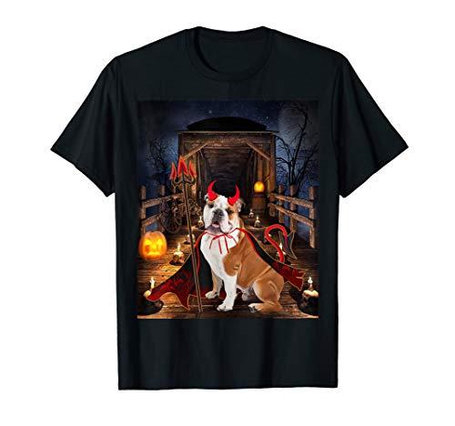 Devil Dog Schwarz T-shirt (Happy Halloween Bulldog lover Funny Bulldog Dog Devil T-Shirt)