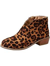 ... ❤ Botines para Mujer Leopardo,Botas de Gamuza Retro con tacón Cuadrado y Estampado de Leopardo con Cremallera Botas con Punta…