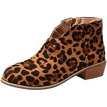 Botines para Mujer Leopardo,Botas de Gamuza Retro con tacón Cuadrado y Estampado