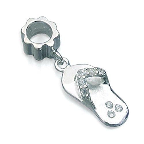 ANDANTE-Stones Original Massiv 925 Silber Bead Charm Perle Flip Flop Element Kugel für European Beads Modul Armband + Organzasäckchen -
