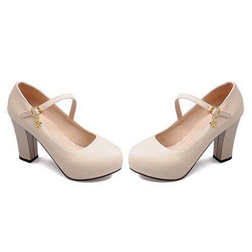 VogueZone009 Femme Boucle Rond à Talon Haut Couleur Unie Chaussures Légeres Beige