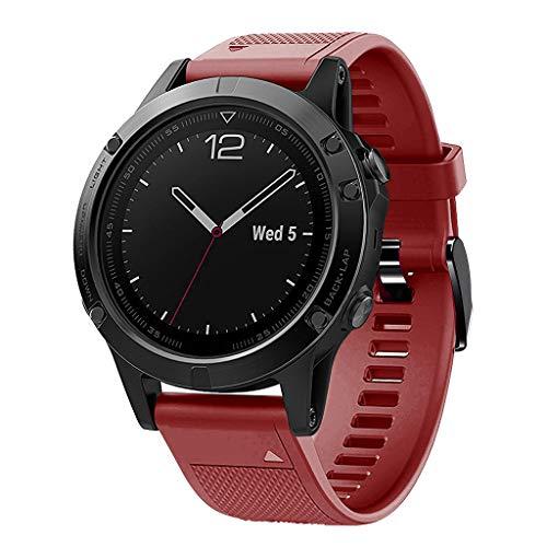 Waotier für Garmin Fenix 5 Quickfit Armband TPU Silikon Armband Kompatibel für Garmin Fenix 5S Fenix 5S Plus Sport mit Schwarz Verschluss Ersatzarmband für Männer Damen (Rot)