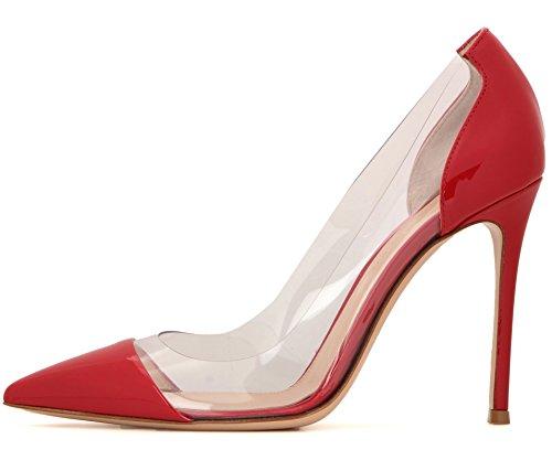 uBeauty - Scarpe da Donna - Scarpe col Tacco - Classiche Scarpe col Tacco - Trasparente Scarpe col Tacco Rosso