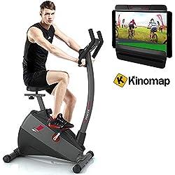 Sportstech Vélo d'Appartement ergomètre ESX500 Commande par Application Smartphone Bluetooth, écran 5,5', Poids d'inertie 12 kg, vélo de Sport d'intérieur, Fitness à Domicile (ESX500- Reconditionné)