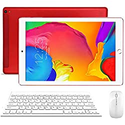 Tablette 10 Pouces Tactile 4G WiFi Dual SIM 32Go, 3Go de RAM Android 8.1 Quad Core Écran HD 1280x800 Double Caméra, Bluetooth/GPS/OTG - Rouge