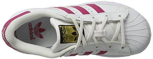 adidas Superstar Foundatio, Sneakers Basses Mixte Enfant, M Blanc (Ftwwht/bopink/ftwwht)