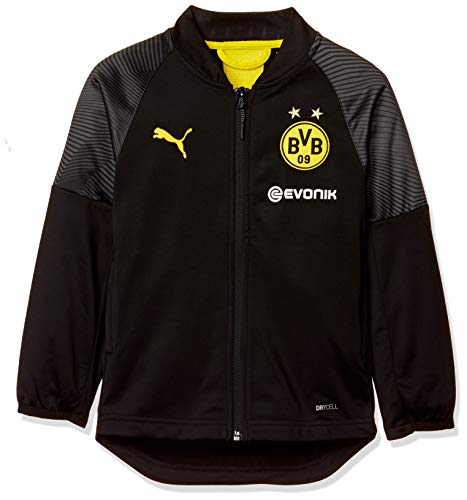 PUMA Kinder BVB Stadium Poly Jacket Jr with Sponsor Logo Trainingsjacke, Schwarz (Puma Black), 152 (Herstellergröße: L)