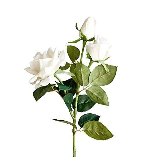 Jia HU 1pièce bouquets de fleurs de rose en 3head Pivoine arrangements plantes d'intérieur extérieur décoratif blanc