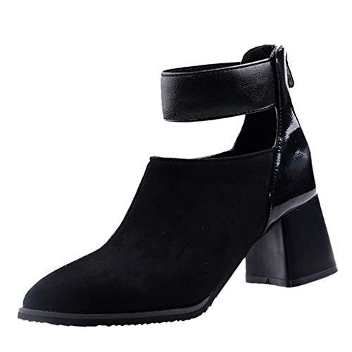 Tohole Stiefeletten Damen Chelsea Boots Ankle Leder Blockabsatz Kurzschaft Stiefel Absatz Schuhe Winter Elegant Kurze Stiefel Mode Blockabsatz Boot (schwarz A,41 EU) (Wonder C Schuhe)