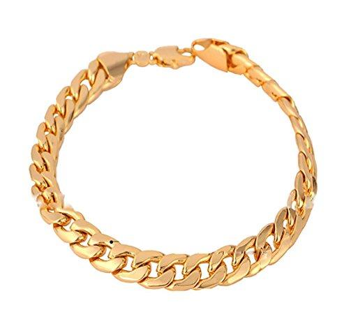 GYJUN Männer 18k klobig Gold gefüllt figaro kubanischen Kette Armband 7mm 21cm Schmuck , golden (Männer Gold Gefüllt Kette)