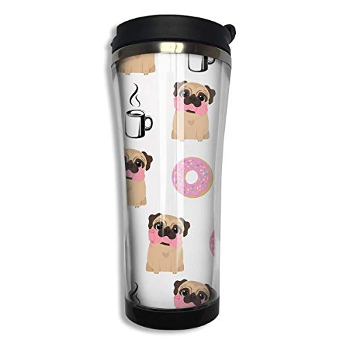 Vacuum Insulated Stainless Steel Tumbler 14oz Double Walls Funny Vector Dogs Pug Puppies Pattern Donut Coffee Water Bottle Coffee Mug for Office Travel Outdoor School Home