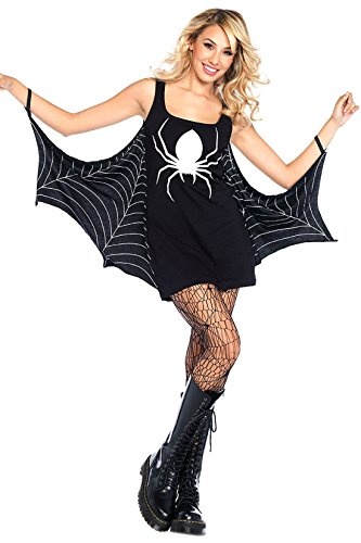 Fancy Damen Deutsch Kleid (Fancy Ole - Halloween Damen Frauen Mädchen Girl Kostüm Spinnenfrau Spider Queen Spinnennetz, S,)
