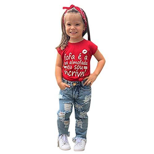 Weant Baby Kleidung Mädchen Keider Festlich Outfits 2PCS Briefdruck Tops + Rissen Denim Hosen Partykleid Sommerkleid Prinzessin Kleid Kinder Kleider Baby Bekleidungssets Neugeborenen Bekleidungset
