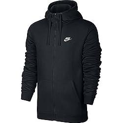 Nike M NSW HOODIE FZ FLC CLUB, Felpa Con Cappuccio Uomo, Nero/Nero/Bianco, L