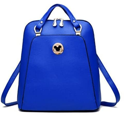 Coreano Cartoon carina Casual PU cuoio allievo femminile spalle borsa , sapphire blue