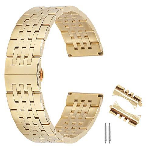 AUTULET Herren Edelstahl Uhrenarmband Gold 24mm