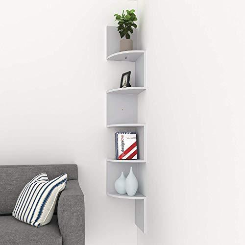 Athomestore Eckregal Zickzackregal Hängeregal Büroregal Bücherregal Raumteiler Wandablage Wandboard 5 Regalböden Grau (Regale Wand Die Coole Für)