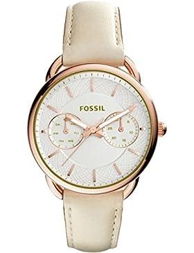 Fossil ES3954 TAILOR Uhr Damenuhr Lederarmband Edelstahl 50m Analog Datum beige rosé