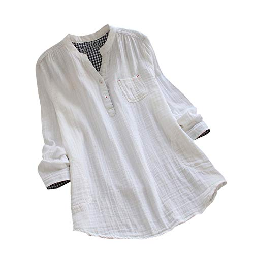 Manadlian Damen T-Shirt Frauen Langarm Hemd Plaid Mit Knöpfe Bluse Lange Ärmel Oberteile V-Ausschnitt Tops