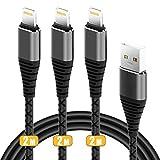 Fur Lang Kabel 2meter, CABEPOW 3x2M USB Ladekabel/haltbar Datenkabel Kabel fur X/8/8 Plus/7/7 Plus/6s/6s Plus/6/6 Plus/5s/5c/5/SE, Mini 2/3/4/Air-Schwarz