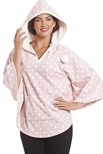 Poncho à capuche - polaire - motif étoiles - rose clair Rose