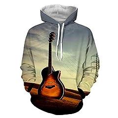 Idea Regalo - XYL HOME Felpa con cappuccio, Unisex Dildo 3d Land chitarra moda maglione con cappuccio felpa con cappuccio Pullover, XXXL
