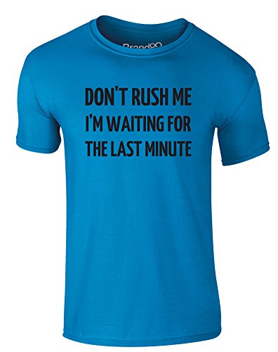 Brand88 - Don't Rush Me, Erwachsene Gedrucktes T-Shirt Azurblau/Schwarz