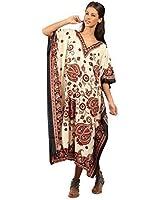 New Kushi Ladies Plus Size Maxi Tribal Ethnic Print Tunic / Kaftan Evening Party Free Size