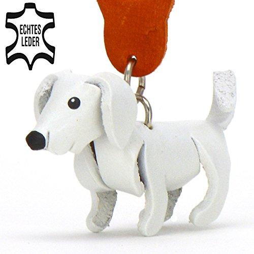Monkimau Labrador Leder Schlüsselanhänger Figur 5cm klein in weiß 1 Stück in Retriever Hunde Kuscheltier Aufkleber Spielzeug