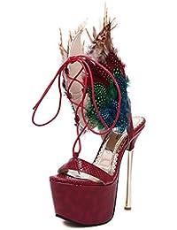 CYGG Zapatos de tacón alto Las nuevas alas de pluma Tie Sandalias de tacón alto Modelo de piel de serpiente Plataforma...