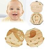 Aibesser Holz Milchzähne Box 1 Paar Junge Mädchen Zahndose, Zähne Box für Baby, Kinder Aufbewahrungs Souvenirbox Zahnkästchen Geburtstag Geschenk mit Pinzette