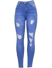 a156fa3db184eb Barfly Fashion New Ladies Womens High Waisted White Blue Black Stretchy  Knee Ripped Cut Skinny Slim Fit Denim Tube Pencil Jean Size…