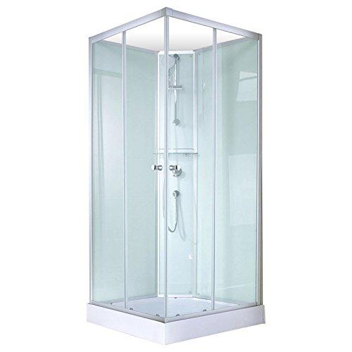 Schulte 4060991009822 Cabine de douche complète Corsica, cabine de douche intégrale carrée avec portes coulissantes, parois fixes, receveur, panneaux muraux et robinetterie, vert d'eau, 90x90x202 cm