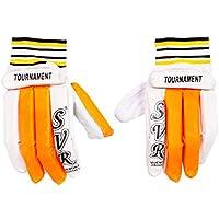 Svr - Guantes de bateo para críquet en Color Naranja y Blanco para jóvenes (2 Unidades), tamaño Juvenil, Calidad de sábana Ligera